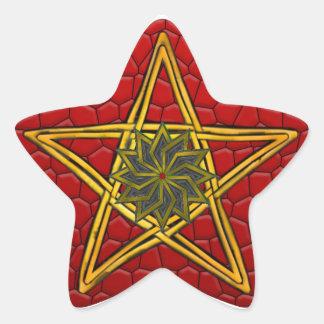 Pentagram de mimbre tejido doble #4 - pegatina