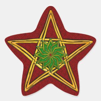 Pentagram de mimbre tejido doble #5 - pegatina