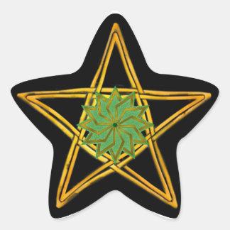 Pentagram de mimbre tejido doble #6 - pegatina