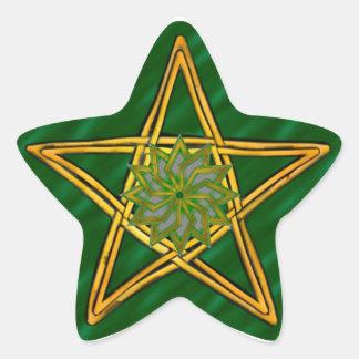 Pentagram de mimbre tejido doble #7 - pegatina