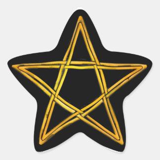 Pentagram de mimbre tejido doble #8 - pegatina