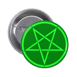 Pentagram de neón del pentáculo del verde del esti pins