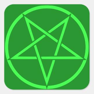 Pentagram de neón del pentáculo del verde del pegatina cuadrada
