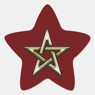 Pentagram de oro clásico pegatina en forma de estrella