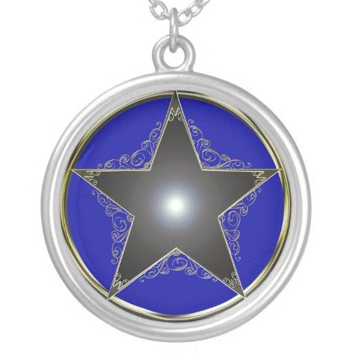 Pentagram de oro elegante colgante redondo