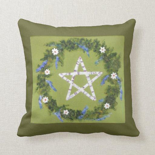Pentagram del abedul blanco almohadas