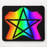 Pentagram del arco iris de la estrella alfombrillas de raton