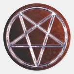 Pentagram del cromo etiqueta redonda