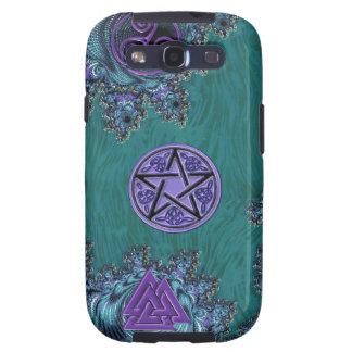 Pentagram del fractal con símbolos místicos céltic samsung galaxy s3 carcasas