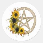 Pentagram del girasol pegatina redonda