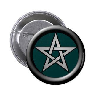 Pentagram del gris de plata en el verde de Drk Pin Redondo De 2 Pulgadas