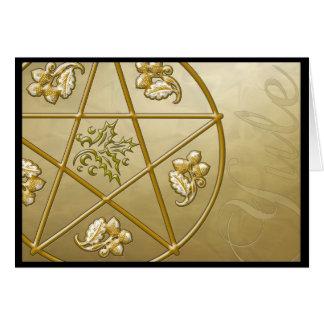 Pentagram del oro, acebo, y Tri-quatra tarjeta #2H