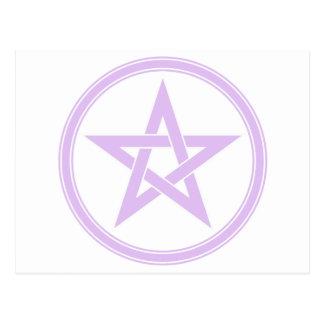 Pentagram del pentáculo de la lavanda tarjetas postales