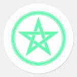 Pentagram del pentáculo del verde de mar pegatina