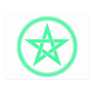 Pentagram del pentáculo del verde de mar postal