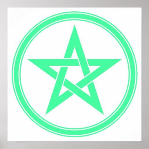 Pentagram del pentáculo del verde de mar posters