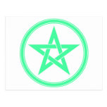 Pentagram del pentáculo del verde de mar tarjetas postales
