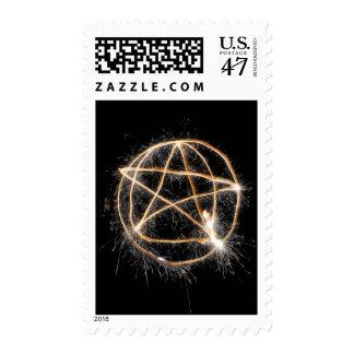 Pentagram del Sparkler de los fuegos artificiales Estampilla