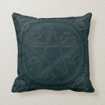 Pentagram Embossed On Leather Look 2-Throw Pillow