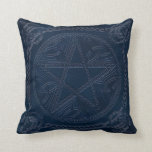 Pentagram Embossed On Leather Look 3-Throw Pillow