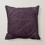 Pentagram Embossed On Leather Look 4-Throw Pillow