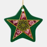 Pentagram - Gold & Red on Green Christmas Tree Ornament