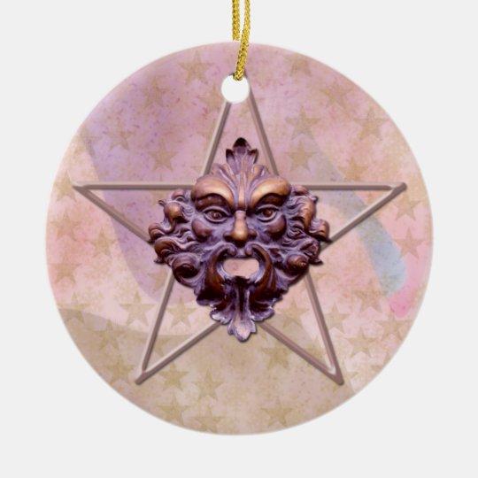 Pentagram &  Green Man Sculpture #1 Ceramic Ornament