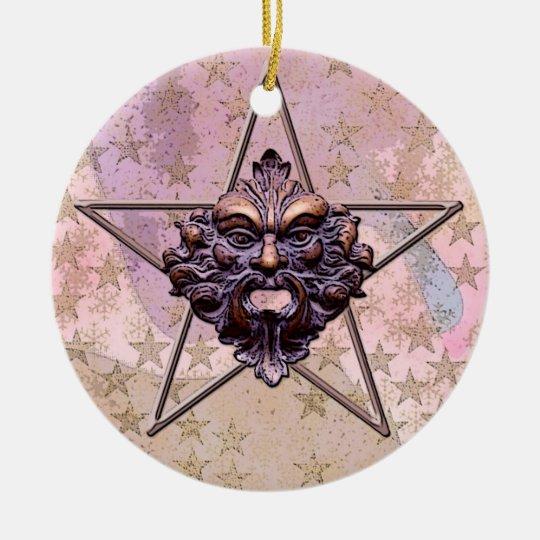 Pentagram &  Green Man Sculpture #1A Ceramic Ornament