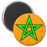 Pentagram Green on Orange 2 Inch Round Magnet