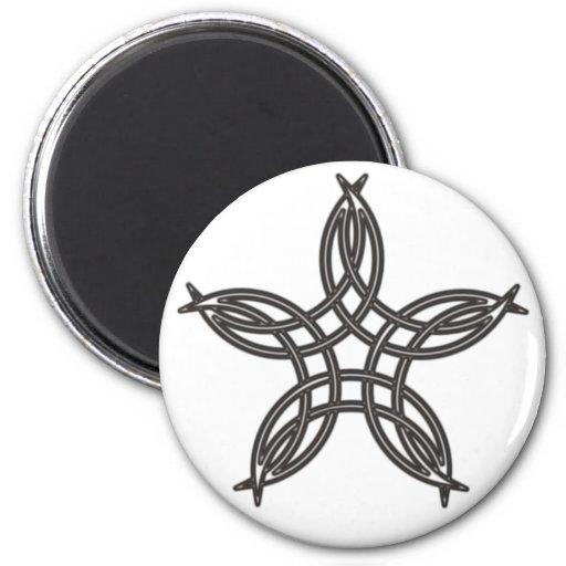 Pentagram half-moon fridge magnet
