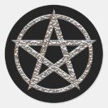 Pentagram Hammered Chrome Round Sticker