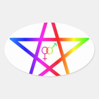 Pentagram heterosexual #2 del arco iris vertical pegatina ovalada