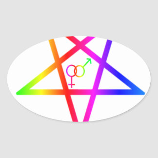 Pentagram heterosexual invertido #2 del arco iris pegatina ovalada