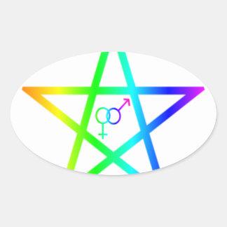 Pentagram heterosexual vertical del arco iris pegatina ovalada