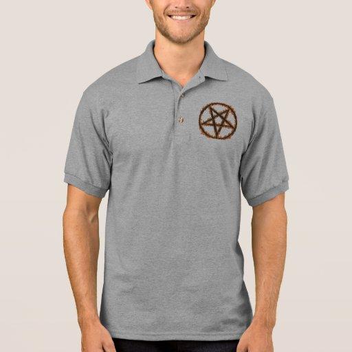 Pentagram invertido ardiendo camiseta polo