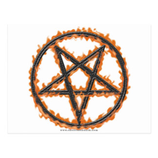 Pentagram invertido ardiendo postales