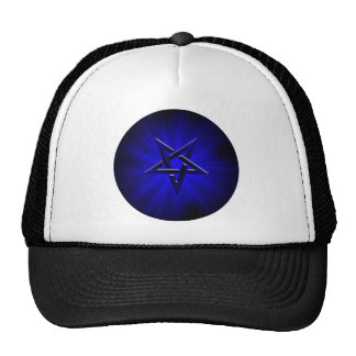 Pentagram invertido azul siniestro gorros bordados