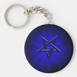 Pentagram invertido azul siniestro llavero redondo tipo pin