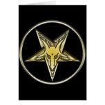 Pentagram invertido con la cabeza de oro de la cab felicitacion
