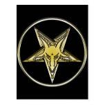 Pentagram invertido con la cabeza de oro de la cab tarjetas postales