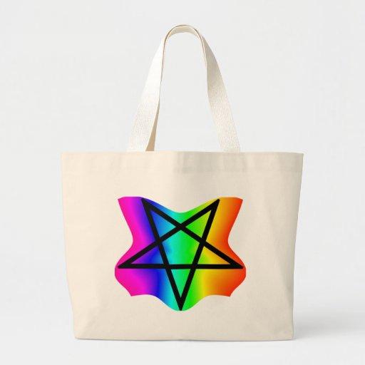 Pentagram invertido del arco iris de la estrella bolsa de mano
