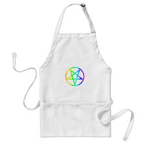 Pentagram invertido del arco iris delantales