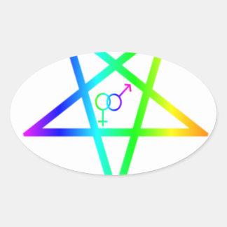 Pentagram invertido del heterosexual del arco iris pegatina ovalada