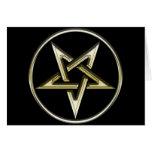 Pentagram invertido oro felicitación