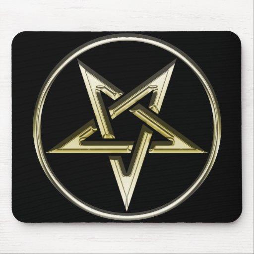 Pentagram invertido oro tapete de ratones