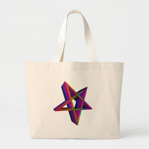 Pentagram invertido tridimensional #3 del arco iri bolsa de mano