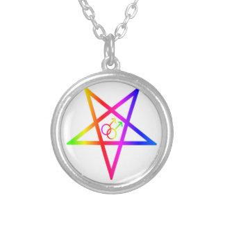 Pentagram invertido varón homosexual del arco iris colgante redondo