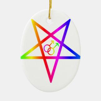 Pentagram invertido varón homosexual del arco iris adorno