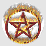 Pentagram llameante pegatina
