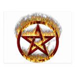 Pentagram llameante postal